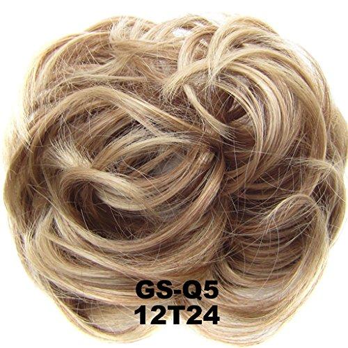 PrettyWit Scrunchie Scrunchy Bun Up Do Hair Piece Hair Ribbon Ponytail Extensions Wavy Curly-Light Golden Brown & Pale Golden Blonde 12T24