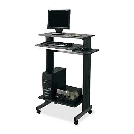 Buddy Products Euroflex Standup Fixed Height Workstation, 19.625 x 44.25 x 29.5 Inches, Charcoal and Silver 6438-36