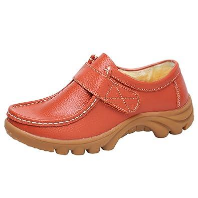 Damen Weich Mokassins Verdicken Warme Freizeit Klettverschluss Schuhe Flache Schuhe Loafers Schwarz 1(40) Yiiquan AeDim