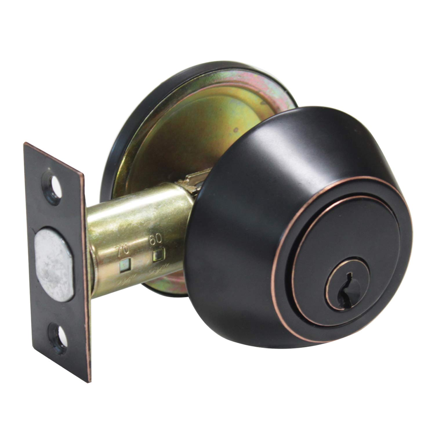 Door Hardware & Locks Single Cylinder Deadbolt Featuring SmartKey in Oil Rubbed Bronze Finish, Thumb Turn Button Inside And Key Outside