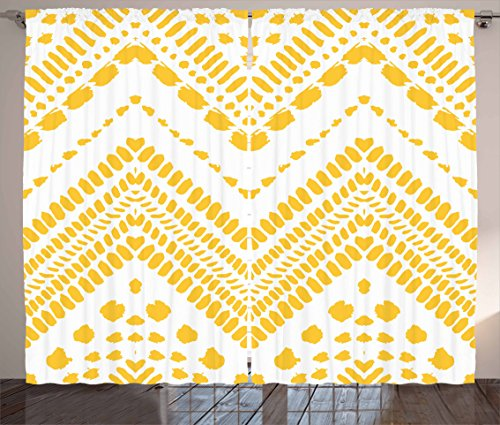 Yellow Chevron Curtains by Ambesonne, Hand Drawn Tribal Aztec African Pattern Ethnic Motif with Dashed Lines, Living Room Bedroom Window Drapes 2 Panel Set, 108 W X 63 L Inches, Mustard White (Pattern Chevron Curtains)