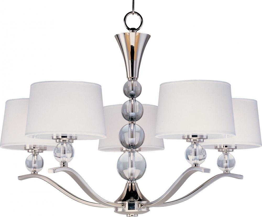 Maxim 12755WTPN Rondo 5-Light Chandelier, Polished Nickel Finish, White Glass, CA Incandescent Incandescent Bulb , 8.5W Max., Wet Safety Rating, 3000K Color Temp, Crystal + Glass Shade Material, 1190 Rated Lumens