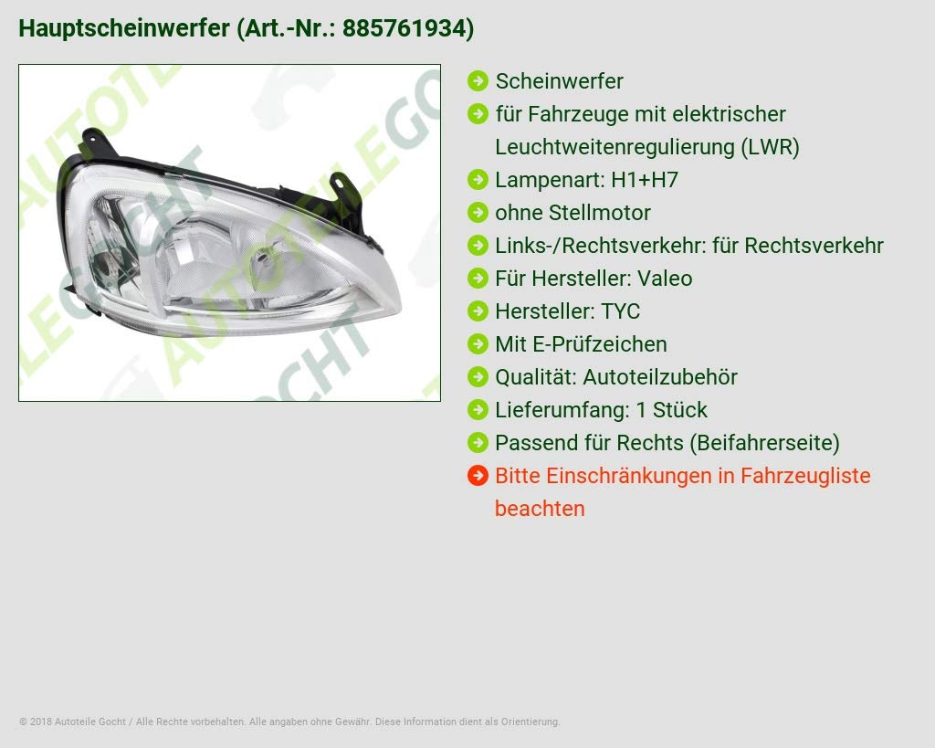 H7 Rechts f/ür Combo C Corsa 04-11 Scheinwerfer H1