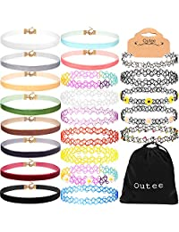 Outee 22 PCS Women's Choker Necklace Set Black Velvet Tattoo Henna Choker Necklaces Ribbon Collar Choker Set for Teen Girls