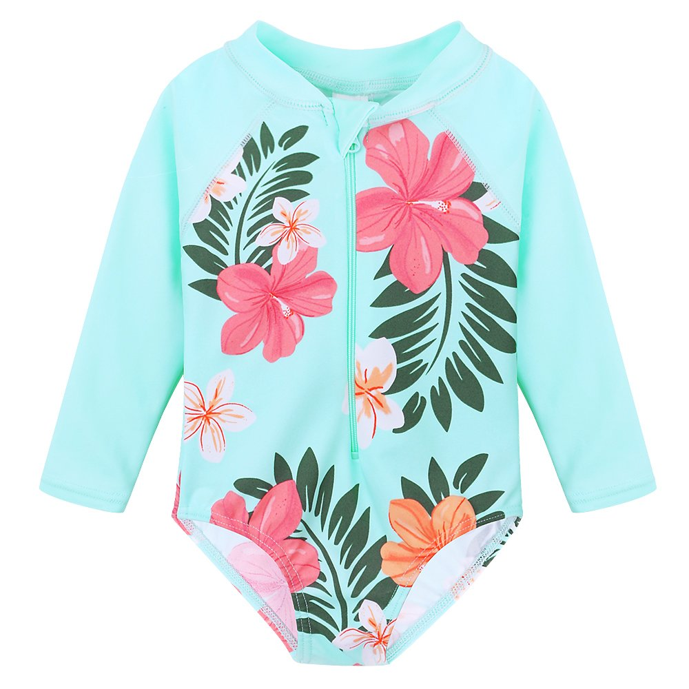 TFJH E Little Girls Rash Guard Swimsuit UV 50+ Long Sleeve One Piece Bathing Suit Cyan Flower 116/122