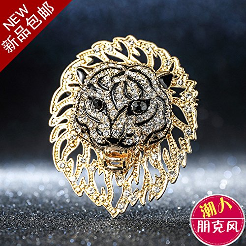 Pin Lion Head (brooch pin men and women retro personality tide Western clothing accessories shirt lion head brooch pin pin badge creative domineering)