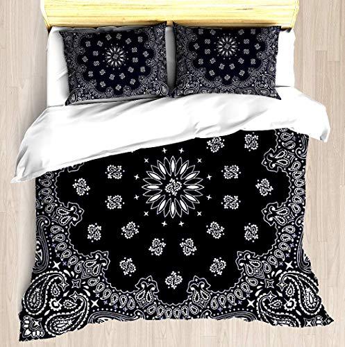 SINOVAL Bandana - Navy Blue - Full/Queen Brushed Microfiber 1 Duvet Cover 2 Pillow Shams Zipper Closure]()