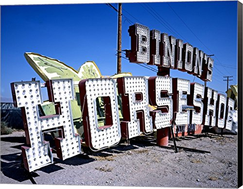 Binion's Horseshoe Casino Sign at Neon Boneyard, Las Vegas Canvas Art Wall Picture, Museum Wrapped with Black Sides, 20 x 16 inches