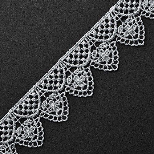1-1/2 Inch Metallic Silver Lace Trim for Bridal, Costume or Jewelry, Crafts and Sewing by 1 Yard, SMB-12544