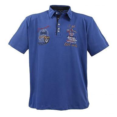 Lavecchia Modernes Herren Poloshirt Kurzarm in Übergröße von Aus Reiner  Baumwolle in Indigo-Blau von