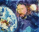 Original Batik Art Painting on Cotton Fabric, 'Jesus with Earth' by Kapitan (90cm x 75cm)