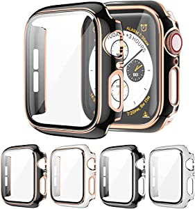 Raamax 4-Pack Case with Tempered Glass Screen Protector Compatible with Apple Watch Series 6/5/4/SE, Full Coverage HD Ultra-Thin Cover for iWatch 44mm