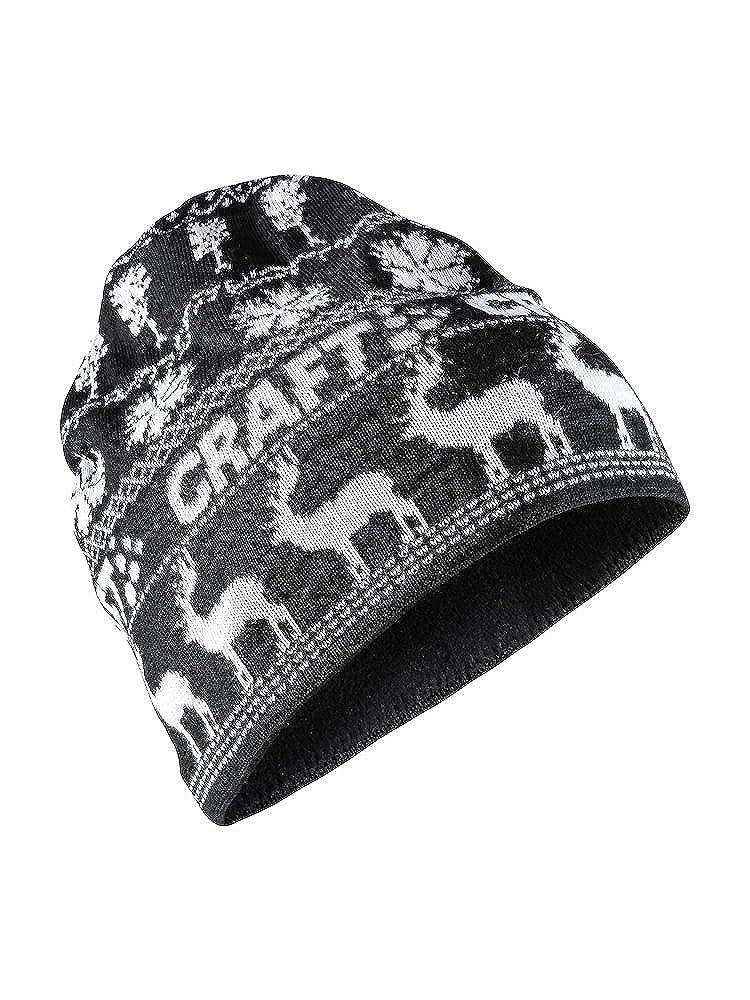 ac4592850bbe8 Amazon.com  Craft Sportswear Unisex Retro Knit Winter Print Cold Weather  Athleisure Beanie Hat Black White