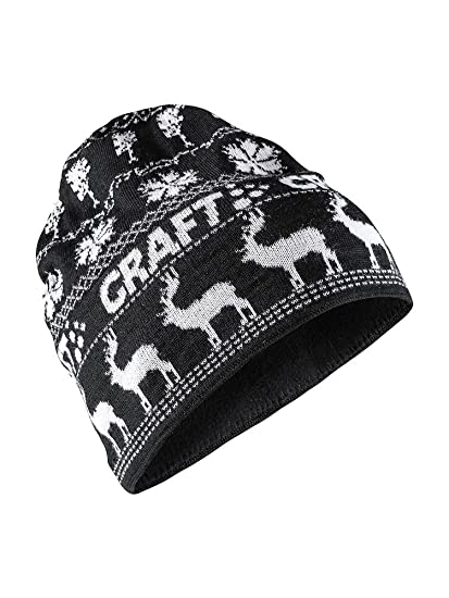 33354879d4f Amazon.com  Craft Sportswear Unisex Retro Knit Winter Print Cold Weather  Athleisure Beanie Hat Black White