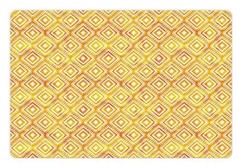 (Ambesonne Aztec Pet Mat for Food and Water, Watercolor Folk Ornamental Diamond Forms Ikat Effects Pattern, Rectangle Non-Slip Rubber Mat for Dogs and Cats, Marigold Earth Yellow)