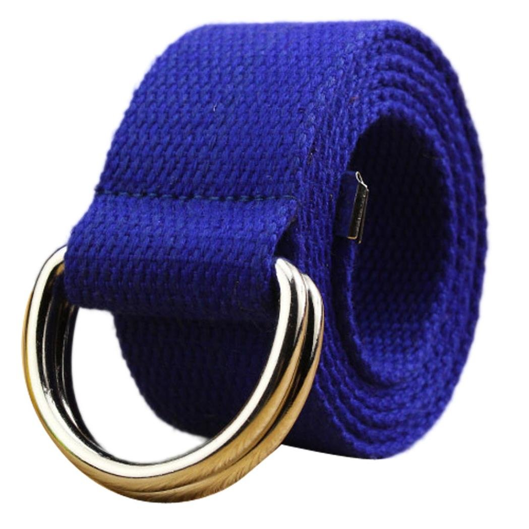 Fashion Double D-Ring Buckle Thicken Canvas Belt Casual Waistband (Blue) by Hattfart (Image #1)