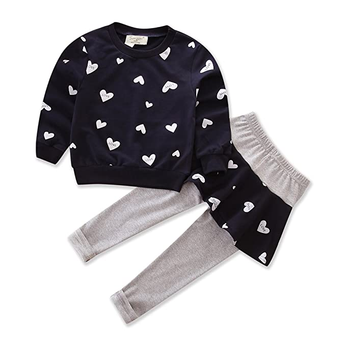 37b50e99ae Little Girl Clothing Set Outfit Heart Print Top Pant Skirts Baby Clothes  Suit (tag :