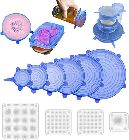Amazon.com: Tapas elásticas de silicona, reutilizables, 10 ...