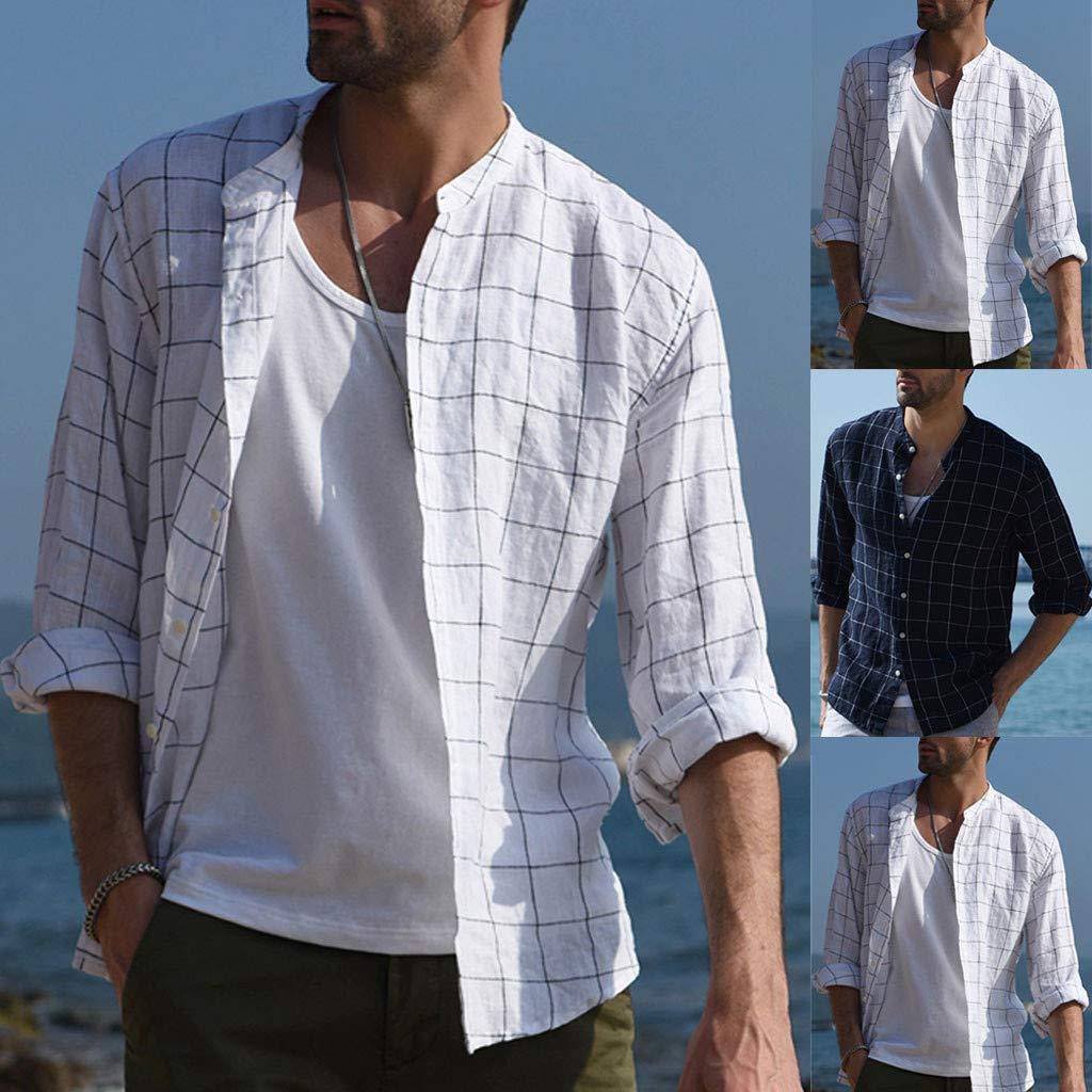 Mens Loose Casual Button Down Beach Shirts Long Sleeve Slim Fit Plaid Tops kaiCran
