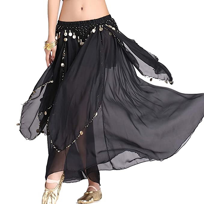 e87c4439f53a ZLTdream Women's Belly Dance Chiffon Skirt With Coins Black, One Size