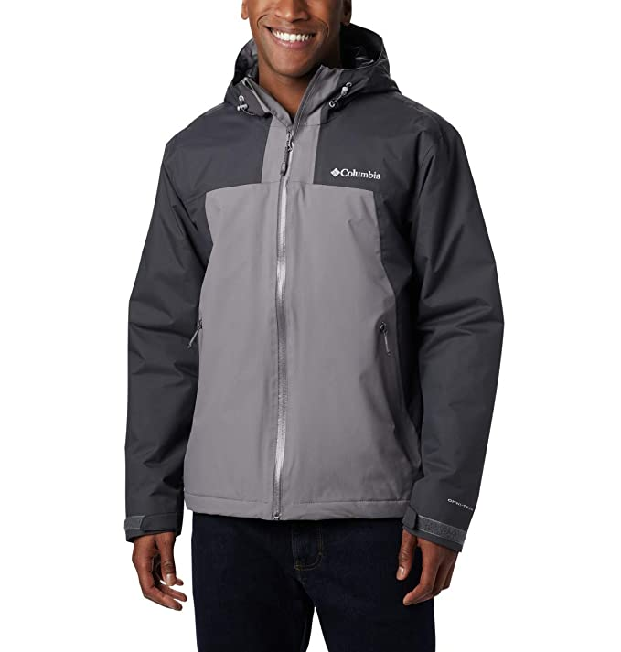 Columbia Men's Top Pine Insulated Rain Jacket, Shark, City Grey, X-Large