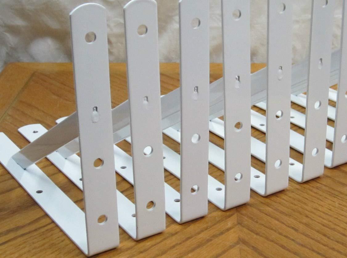 10 Heavy Duty White Steel 12'' x 8'' Shelf Brackets! 500 Lb Metal Lot L Countertop