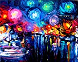 100% Hand Painted Oil Paintings Modern Abstract Arts Reproductions Home Decor A Riot of Color Oil Painting on Canvas (36X45 Inch, Arts 1)