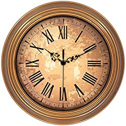 45Min 12-Inch Decorated Dial Face Retro Wall Clock, Silent Non-Ticking Round Home Decor Wall Clock with Fern/Phoenix/Peacock/Peony (Brown)