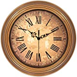 45Min 12-Inch Brown Irregular Patch Decorated Dial Face Retro Wall Clock, Silent Non-Ticking Round Home Decor Wall Clock with Roman Numerals
