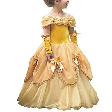 Obeeii Kostüm Kleid Lange Mädchen Karneval Prinzessin Belle Kinder DHIYWE29