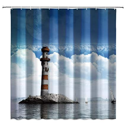 Polyester Fabric Blue Sky White Cloud Lighthouse Shower Curtain Fashion 70x70 Inch Waterproof Anti Mold