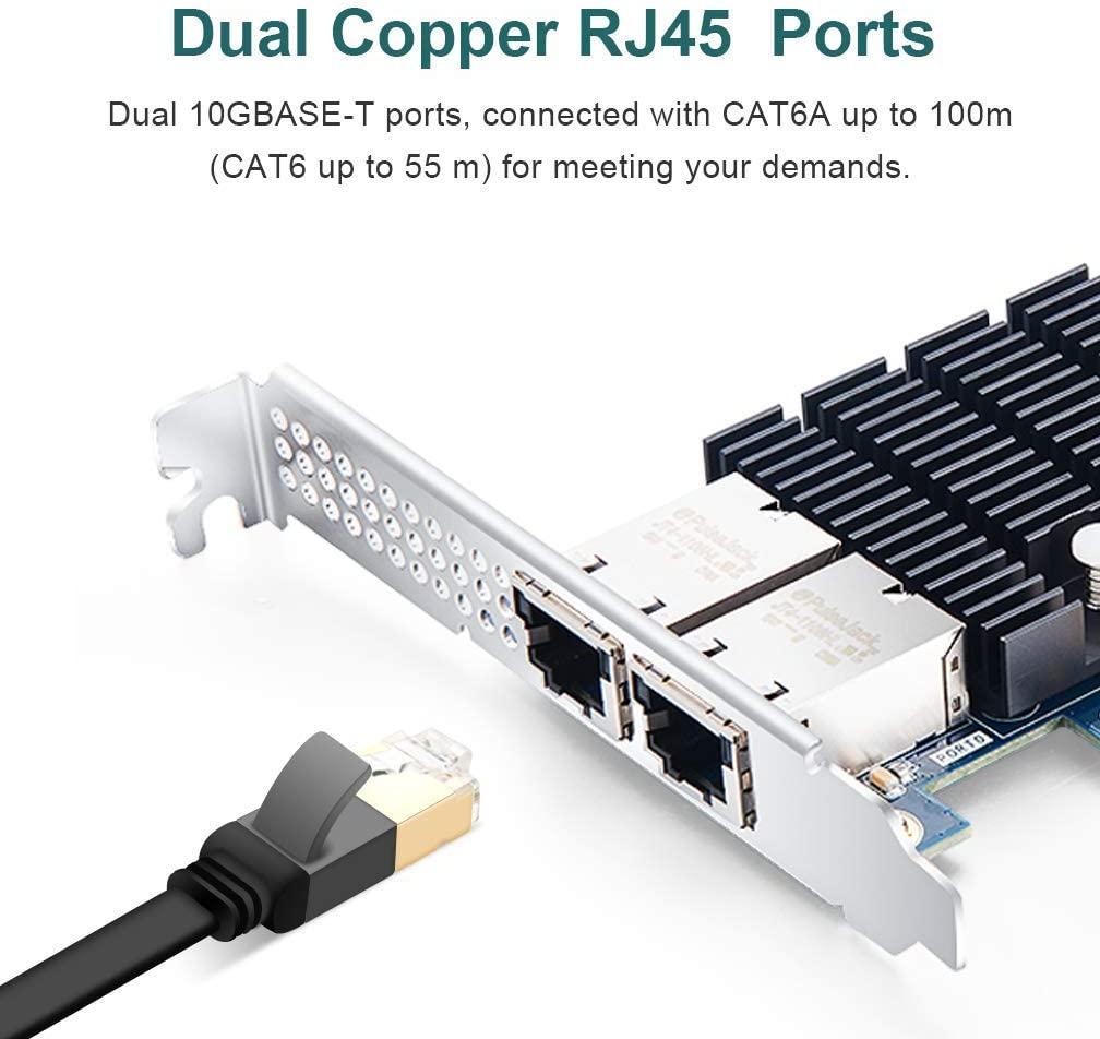 Dual SFP+ Ports for Intel 82599ES Chipest 10Gb PCI-E Network Card X520-DA2 10G PCI Express NIC Support Windows Server VMware Win 7//8//10//Visa Linux