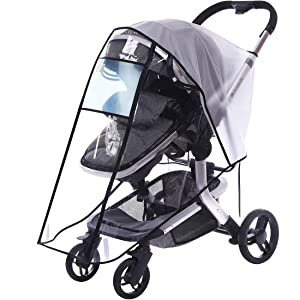 Innokids Stroller Rain Cover and Free Mosquito Net - Baby Travel Weather Shields Waterproof Windproof Protection Dust-Proof Shield Cover for Outdoor Use (H-Zipper-L)