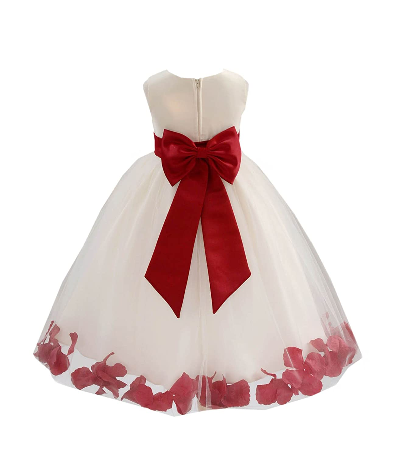 dbe69a2bdb4 Amazon.com  Ivory Tulle Rose Floral Petals Toddler Flower Girl Dresses  Bridal Gown 302T  Clothing