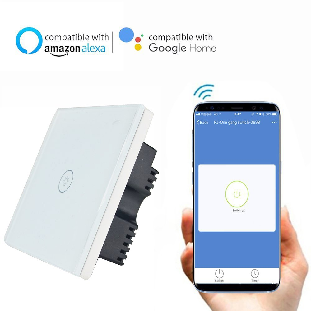 Knaclean Smart Wifi Touch Switch Work With Amazon Alexa Google And Neutral Wires That Have Been Switched As A Reference The American Home 1 Gang Way Wireless Wall Remote Control No Hub Required Via