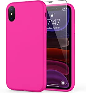 DEENAKIN iPhone Xs Max Case with Screen Protector,Soft Liquid Silicone Gel Rubber Bumper Cover,Slim Fit Shockproof Protective Phone Case for iPhone Xs Max Hot Pink