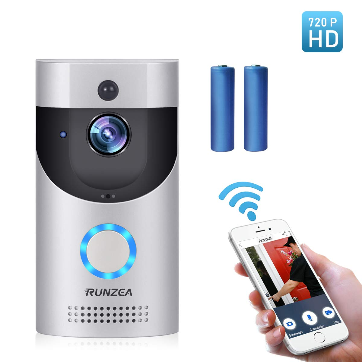 Wireless Smart Doorbell,EwiseeLive WiFi Video Doorbell,720P HD Security Camera with Two-Way Talk &Video,PIR Motion Detection,Night Vision,2 Rechargeable Batteries for iOS Android Google and Smart home by EwiseeLive (Image #1)