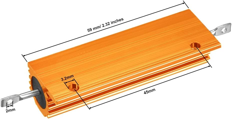 2 resistencias de carcasa de aluminio 100 W 4 Ohm Wirewound Gold para convertidor de repuesto LED 100 W 4 RJA Sourcingmap