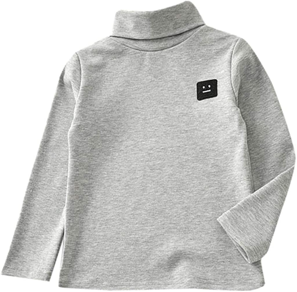 Zerototens Kids Plain T-Shirt,1-5 Years Old Toddler Infant Baby Boys Girls Long Sleeve Turtleneck Sweatshirt Tops Children Basic Tee Casual Warm Outfit Clothes Gray