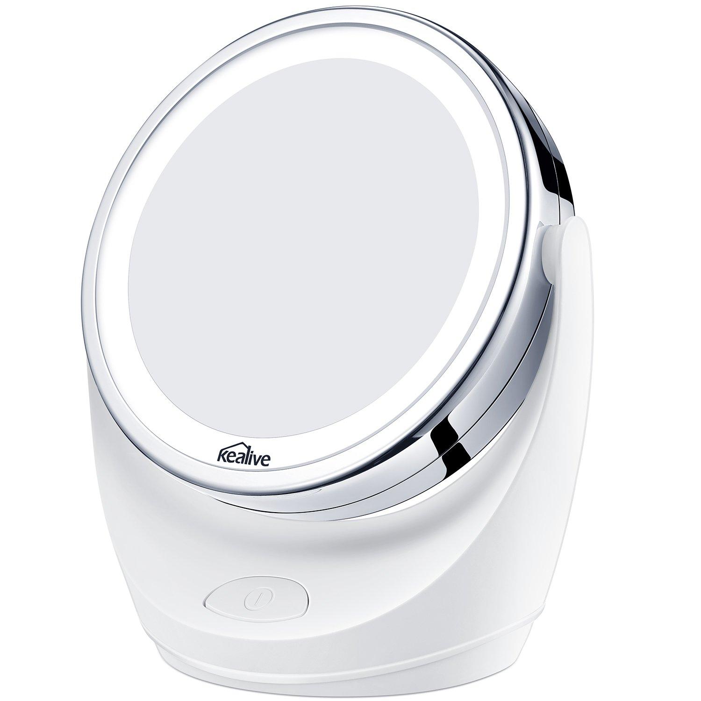 Kealive Specchio per Trucco Double Face Specchio Cosmetico Illuminato con Luci LED Ingradimento 1X / 5X 360° Girevole per Trucco, Camera da Letto, Rasatura e Viaggio (5X/1X) BE-M1
