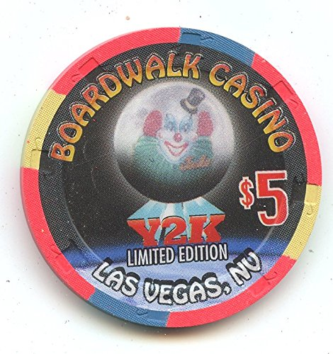$5 Boardwalk Casino Millennium 2000 Y2K Jocko The Clown Old Obsolete Las Vegas Nevada Casino Chip Uncirculated Collectors Condition Chip Real Live chip ()
