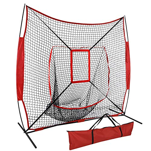 ZENSTYLE 7' x 7' Baseball & Softball Practice Hitting & Pitching Net, Comes with Bow Frame, Carry Bag and Bonus Strike Zone, Great for All Skill ()