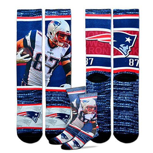 Rob Gronkowski New England Patriots For Bare Feet Nfl Rush Player Profile Socks Large