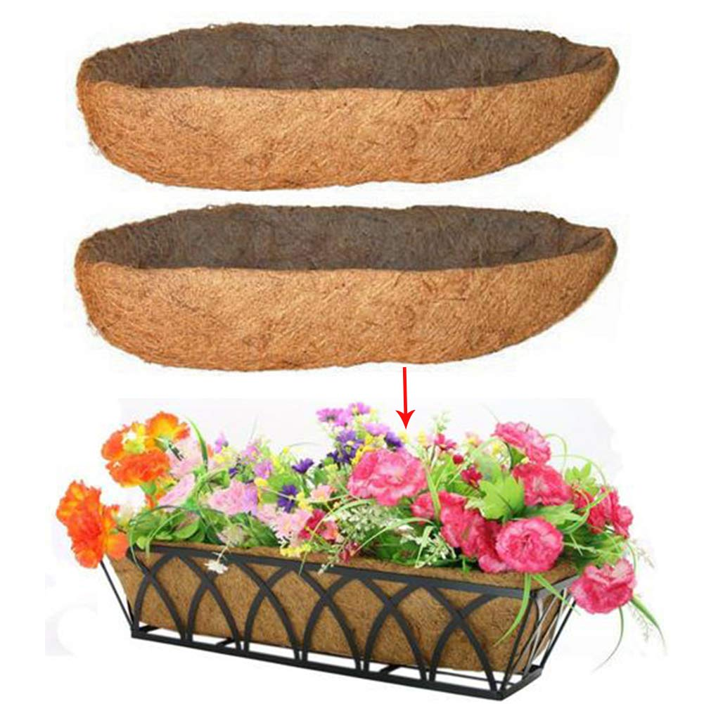 2 Pack Long Arc Shape Coconut Fiber Liners Replacement Planter Basket Liner for Hanging Flower Pot Balcony Wall Basket Planters
