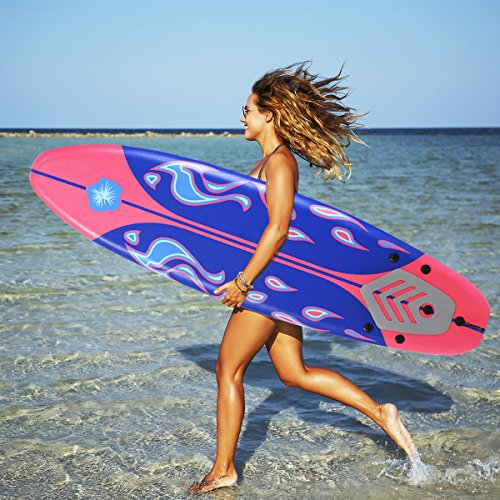Gymax 6 Feet Surfboard Beach Ocean Surfing Boards Body Boarding Youth Men Women Surf Board w/Leash Non-Slip Mat Fin Set (Red+Blue)