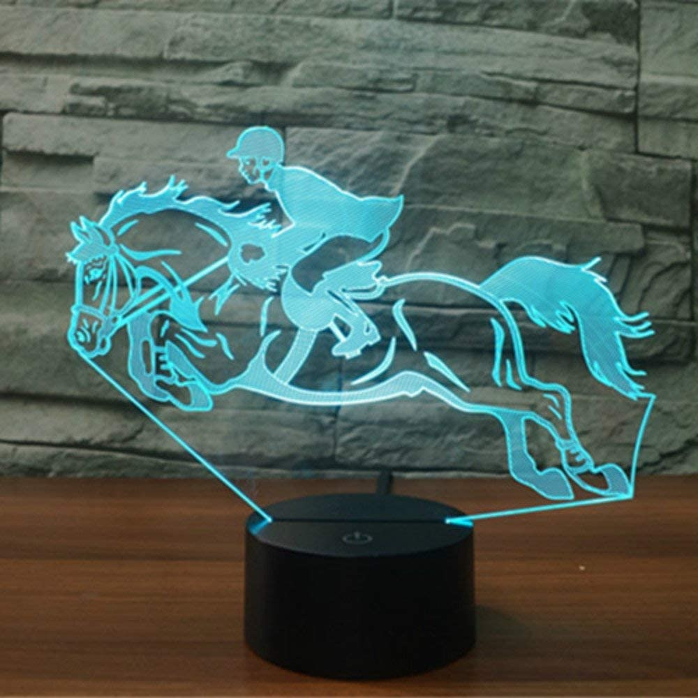 YKL World Horse Race Night Light 3D Illusion Lamp LED Touch Lamp Dimmable 7 Colors Changing USB Powered Desk Table Lamp Kids Decor for Christmas Bedroom Boys Sports Lovers