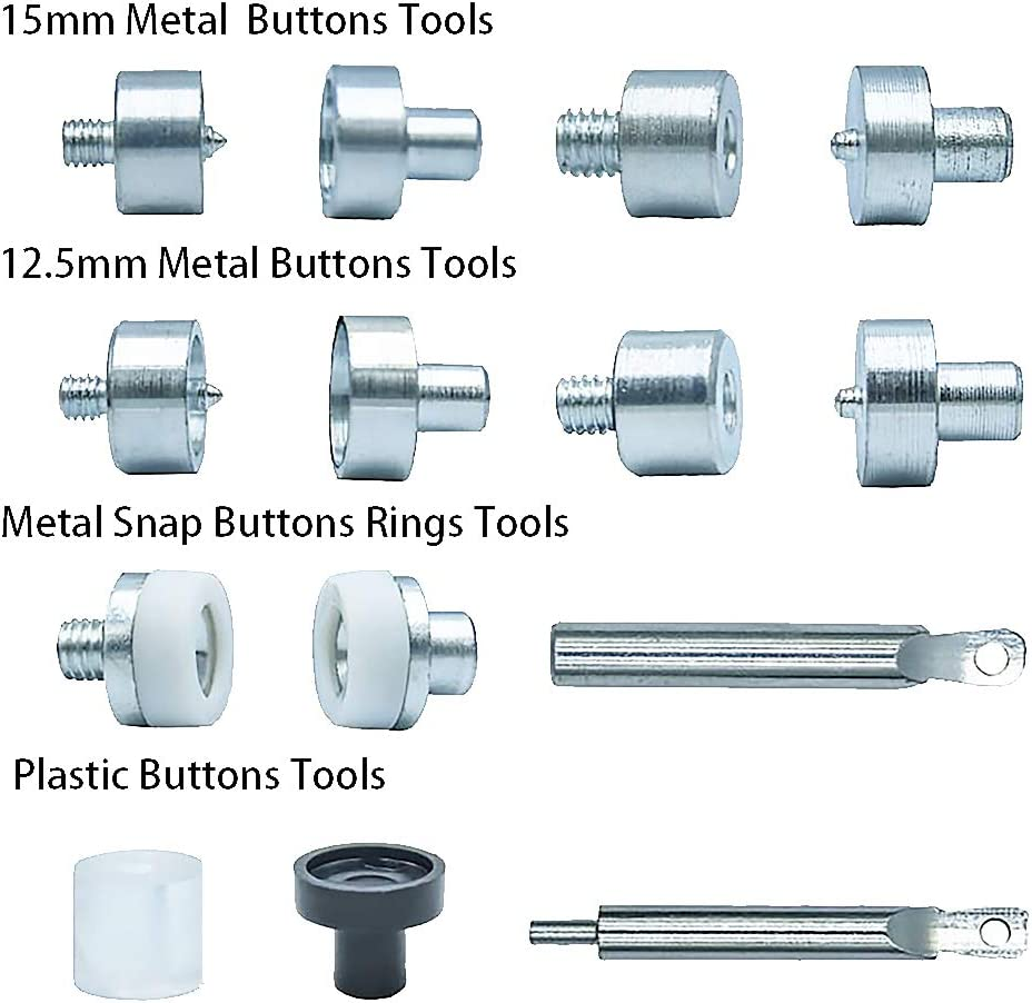 Universal Button Suit with Multi-Function Tool for Plastic Snaps,Metal Snaps and Metal Snap Buttons Rings Suitable for Craft Making,Repair and Decoration.