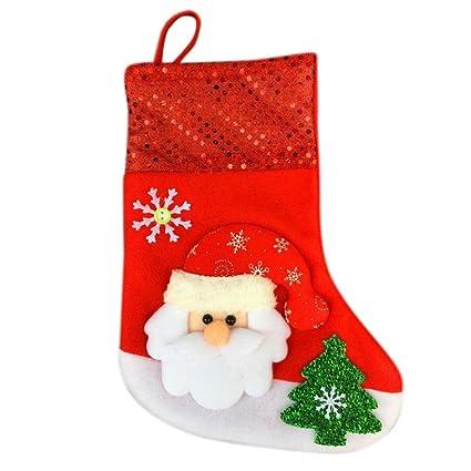 Papá Noel Calcetines Forma Caramelo Regalo Bolso, LILICAT Medias de Navidad Decoración colgante (A