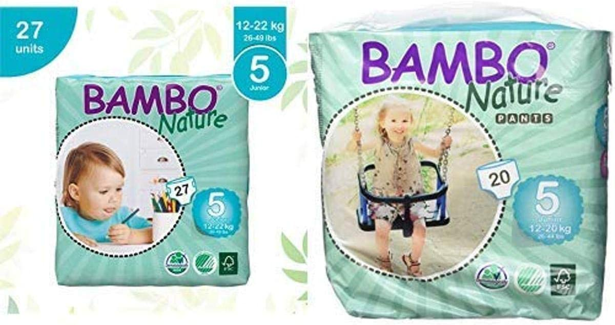 Bambo Nature Eco Friendly Baby Diapers Classic for Sensitive Skin, Size 5 (26-49 lbs), 27 Count and Nature Eco Friendly Baby Training Pants Classic for Sensitive Skin, Size 5 (26-44 lbs), 20 Count