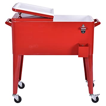 High Quality Giantex Red Outdoor Patio 80 Quart Cooler Cart Ice Beer Beverage Chest  Party Portable